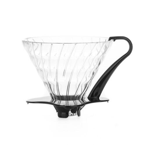 03 Hario V60 Glas Dripper med sort plastik hank